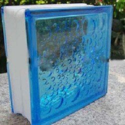 بلوک شیشه ای کاوه مدل حبابی آبی