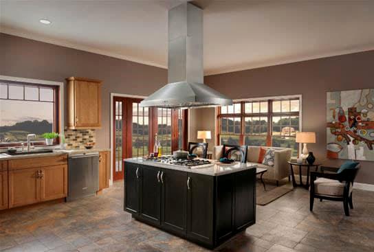 انواع هود آشپزخانه - هود جزیره ای - مزایا و معیاب هود جزیره ای